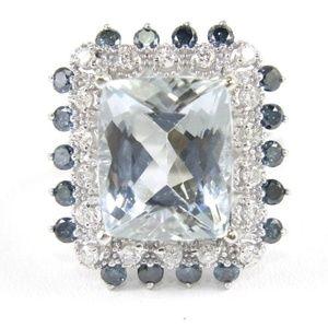 Diamond & Blue Sapphire Halo 7.22Ct 14k WG